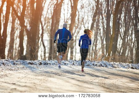 Two persons jogging in nature together, back view