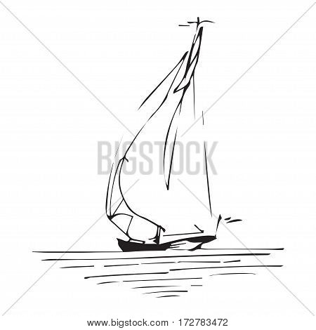 Sailing ship or boat in the ocean in ink line style. Hand sketched yacht. Marine theme design