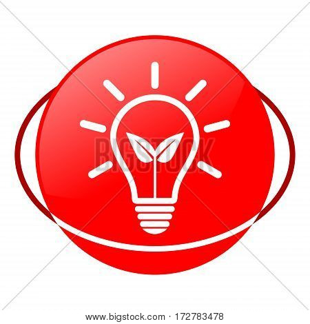 Red icon, green energy bulb vector illustration
