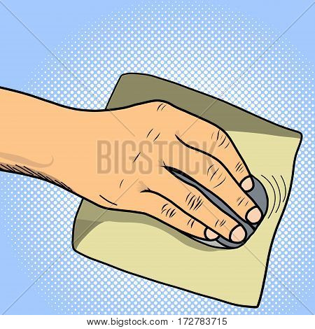 The focus is on the hand of man, mouse and mousepad pop art design vector illustration. Book separate objects. Work at the computer.