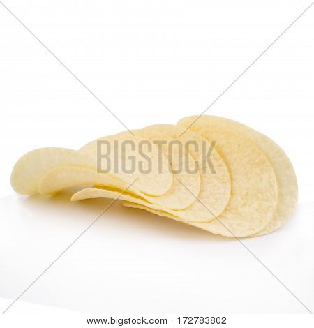 front view of round potato chips on top of each other isolated on white background