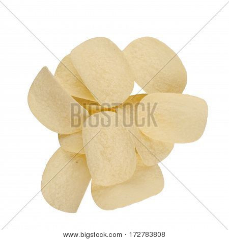 top view of round potato chips on top of each other isolated on white background
