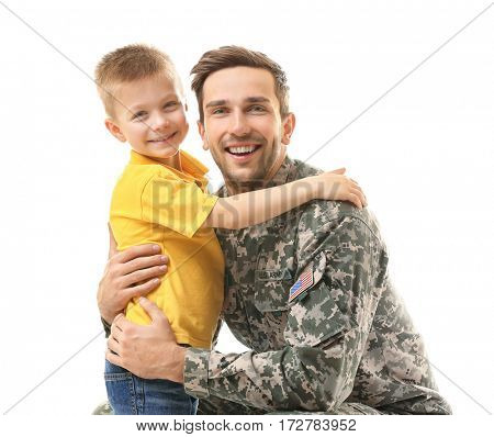 Military father with his son on white background