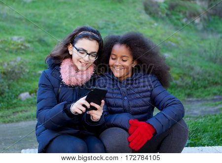 Two girls looking at the mobile in the park.