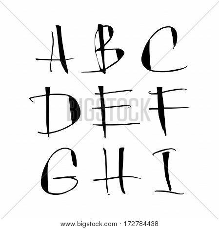 Handwritten ink calligraphic black alphabet on white background.