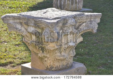 Historical artefact of Roman forum in Green square. Zadar, Croatia.
