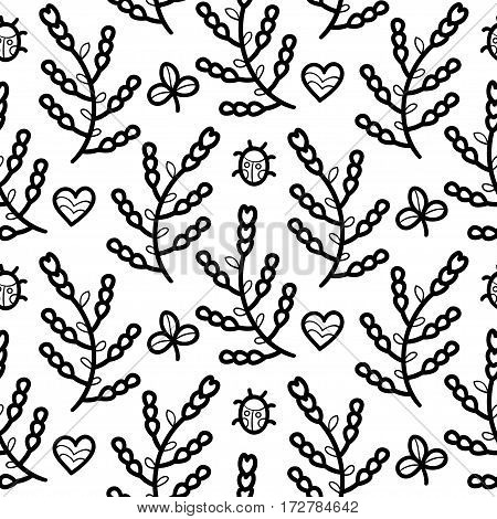 Black and white floral seamless vector pattern with ladybug, heart, flower, clover
