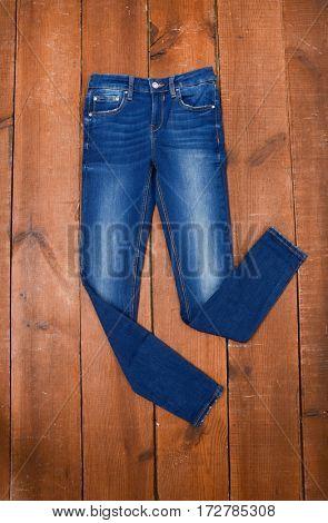 denim jean on wood background
