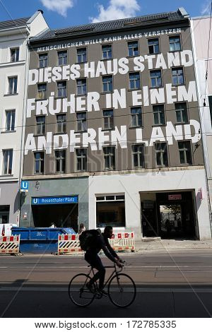BERLIN, GERMANY - MAY 12, 2016: House in the Brunnenstrasse in Berlin with the inscription