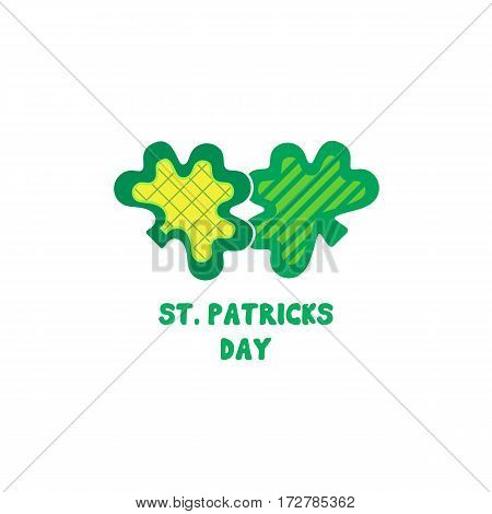 St. Patrick's Day sign. Freehand drawn cute cartoon emblem. Traditional Irish holiday celebration symbol. Ireland green shamrock icon. Vector logo design element. Decorative fancy three leaf clover