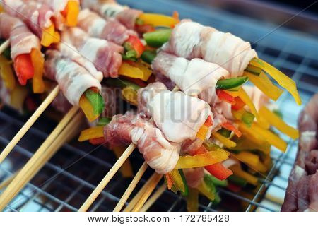 Bar-b-q,barbeque Grill ,barbecue,street Food In Thailand