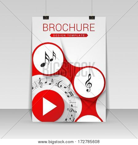 Music brochure cover design. Flyer poster booklet template. Vector illustration