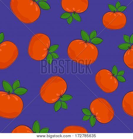 Seamless Pattern of Mandarin, Fruit Tropical Citrus Pattern ,Tangerine on Purple Background ,Vector Illustration