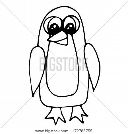 Cute penguin isolated on the white background. For coloring book and other child design.