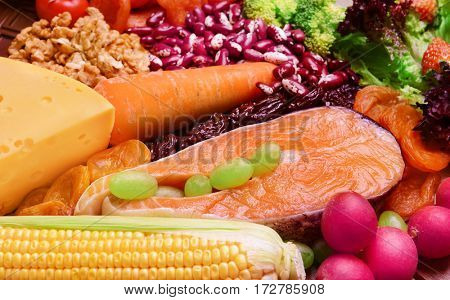 Healthy food, closeup
