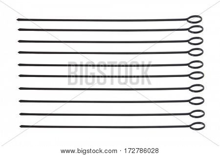 Metal skewers set isolated on white background