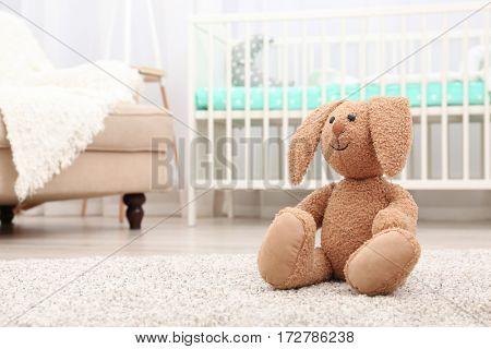 Beautiful bunny on the floor in baby room