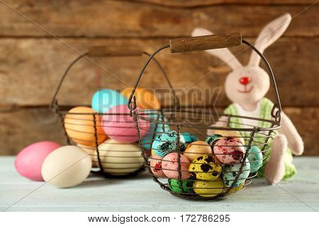 Beautiful Easter composition on wooden table