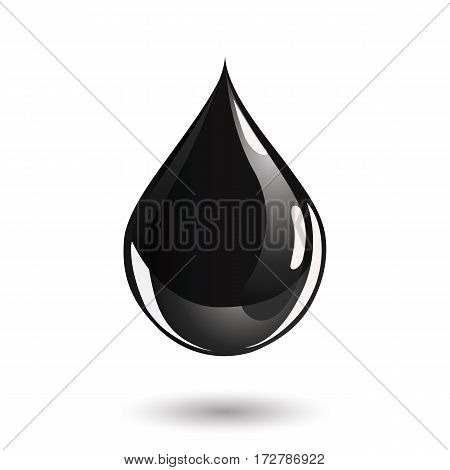 Oil drop icon. Perfectly shaped droplet with a shadow underneath.