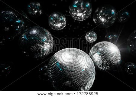Mirror ball Illumination dark. disco party ball.