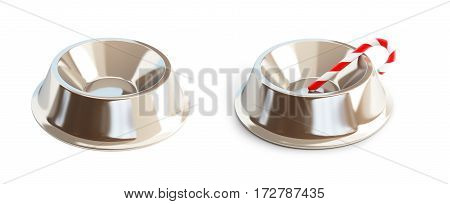 Metal dog dish on a white background 3D illustration