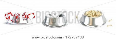 Metal dog dish and bone set on a white background 3D illustration