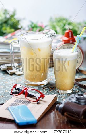 Coctail In Glassy Jug And Glass