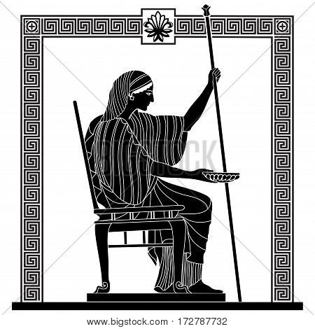 Greek woman holds a cup in his hands. Vector Image.