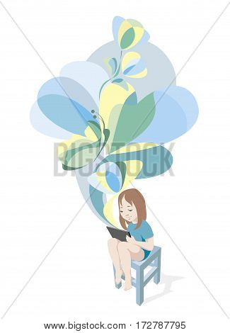 Girl is reading E book on Tablet