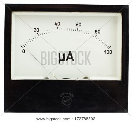 Black square analog ampermeter isolated on white background with 0 uA reading on scale.