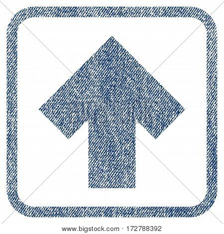 Arrow Up vector textured icon for overlay watermark stamps. Blue jeans fabric vectorized texture. Symbol with dust design inside rounded rectangular frame.