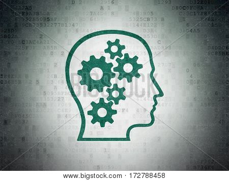 Business concept: Painted green Head With Gears icon on Digital Data Paper background
