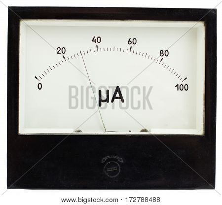 Black square analog ampermeter isolated on white background with 30 uA reading on scale.