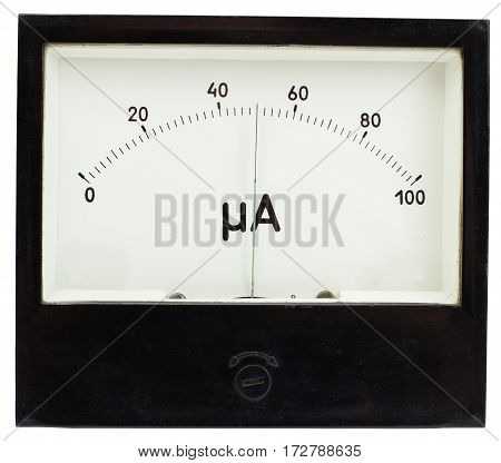 Black square analog ampermeter isolated on white background with 50 uA reading on scale.