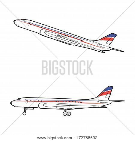 Vector illustration of a passenger jet in the static state and in flight on a white background
