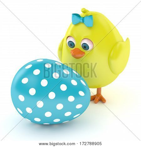 3d render of Easter chick with painted egg isolated on white background