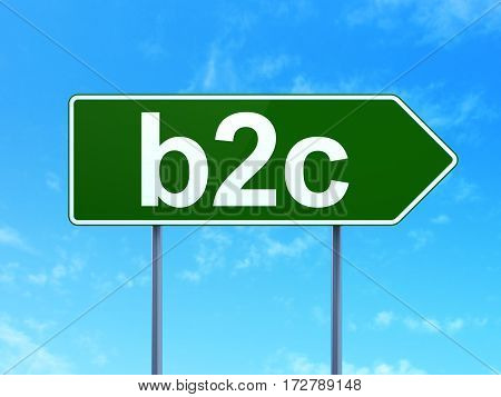 Finance concept: B2c on green road highway sign, clear blue sky background, 3D rendering