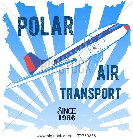 Vector color illustrations emblema depicting the northern transportation Passenger propeller aircraft, the rising winter sun and a phrase with the words polar air transport in retro style