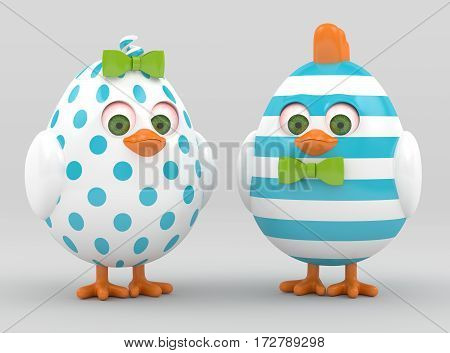3D Render Of Easter Painted Chicks Over Grey
