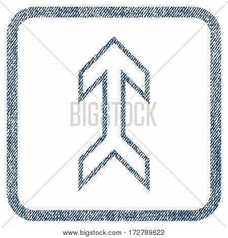 Arrow Up vector textured icon for overlay watermark stamps. Blue jeans fabric vectorized texture. Symbol with dirty design inside rounded rectangular frame.