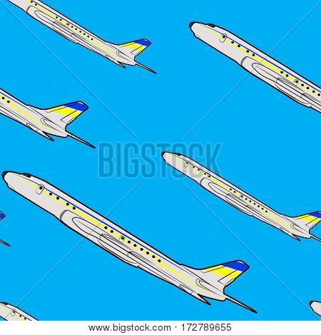 Vector seamless pattern of colored flying passenger jets