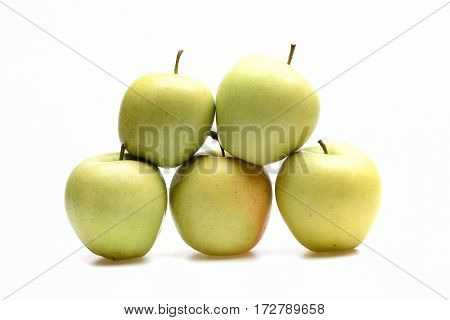 Green Apple Fruit Isolated On White