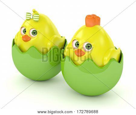 3D Render Of Easter Chicks In Eggshells