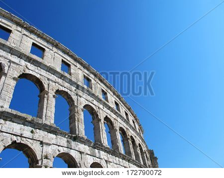 old coliseum isolated in the city of Pula in Croatia
