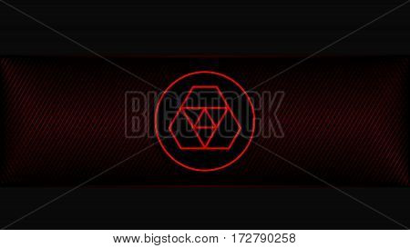 Abstract Technology Background With Red Metal Grid