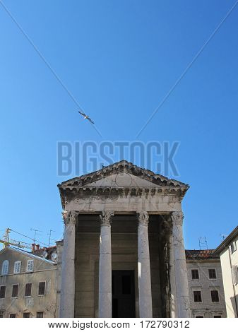 roman temple isolated in the city of Pula in Croatia