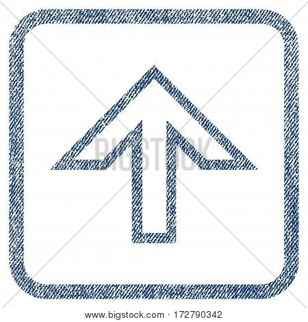 Arrow Up vector textured icon for overlay watermark stamps. Blue jeans fabric vectorized texture. Symbol with unclean design inside rounded rectangle.