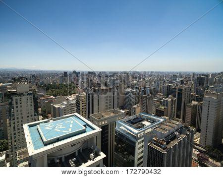 Aerial View of Paulista Avenue, Sao Paulo, Brazil