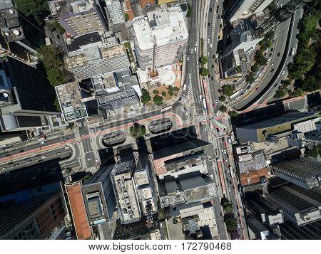 Top View of Paulista Avenue, Sao Paulo, Brazil