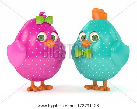 3D Render Of Easter Colored Chicks